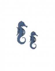 10 Confettis en bois hippocampe bleus 6 et 4,5 cm