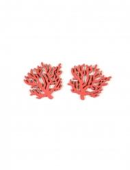 12 Confettis en bois corail rouge 4 cm