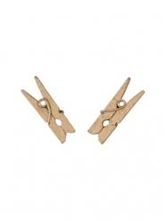10 Mini pinces à linge en bois roses gold 2,5 cm