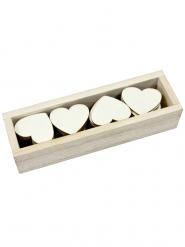 Boîte de 48 cœurs en bois 4 cm
