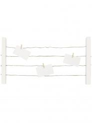 Pêle même en bois avec corde blanc 35 x 60 x 3 cm