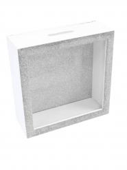 Boîte à messages en bois argentée 18 x 7 cm