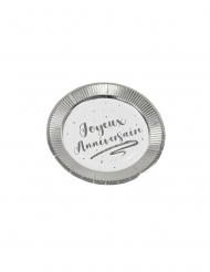 6 Petites assiettes en carton joyeux anniversaire argentées métallisées 18 cm