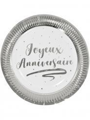 6 Assiettes en carton joyeux anniversaire argentées métallisées 23 cm