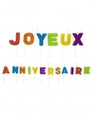 Bougies sur pique joyeux anniversaire multicolores pailletées 1,6 x 1,2 cm et 1,8 x 2,2 cm