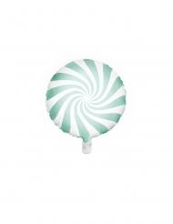 Ballon aluminium sucette menthe et blanc 45 cm