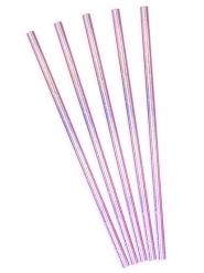 10 Pailles en carton iridescentes roses 19,5 cm