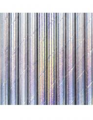 10 Pailles en carton iridescentes 19,5 cm