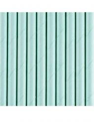 10 Pailles en carton turquoise 19,5 cm