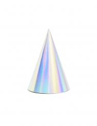 6 Chapeaux de fête en carton iridescents 10 x 16 cm