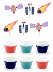 Kit à cupcake space adventure 5 x 7,5 cm