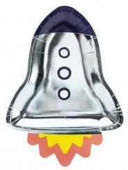 6 Assiettes en carton en forme de fusée 21,5 x 29,5 cm