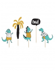 5 Cake toppers en carton dinosaures bleus 15,5 - 20 cm