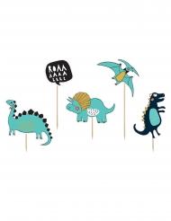 5 Cake toppers en carton dinosaures bleus 10,5 - 20 cm