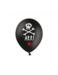 6 Ballons en latex fête de pirate noirs 30 cm