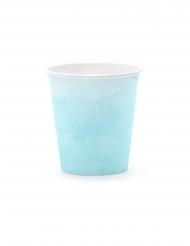 6 Gobelets en carton dégradé de bleu 180 ml