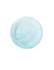 6 Petites assiettes en carton dégradé de bleu 18 cm