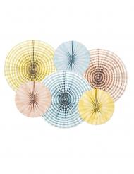 6 Rosaces en papier couleurs pastels 25 et 40 cm