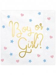 20 Serviettes en papier boy or girl blanches 33 x 33 cm
