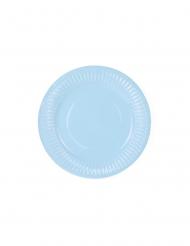 6 Petites assiettes en carton bleu ciel 18 cm