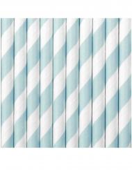 10 Pailles en carton rayées bleu ciel et blanches 19,5 cm