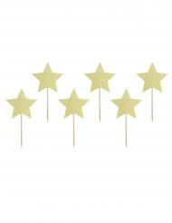 6 Cake toppers en carton étoiles dorées pailletées 11,5 cm