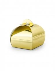 10 Boîtes en carton dorées métallisées 6 x 5,5 cm