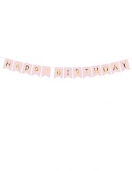 Guirlande en carton happy birthday rose et dorée 15 x 175 cm