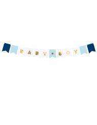 Guirlande en carton baby boy bleue et métallisée 15 x 160 cm