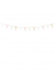 Guirlande de fanions en carton roses et blanches 18 x 210 cm