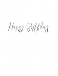 Guirlande en carton happy birthday argentée métallisée 16,5 x 62 cm