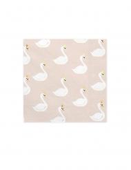 20 Serviettes en papier cygne blanches et roses 33 x 33 cm