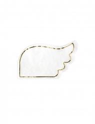 20 Serviettes en papier en forme d'ailes blanches 32 x 20 cm