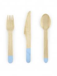 18 Couverts en bois bleu ciel 16 cm