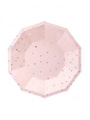 6 Petites assiettes en carton rose pâle et étoiles dorées 18 cm