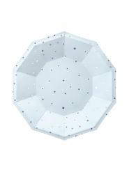 6 Petites assiettes en carton bleu ciel et étoiles argentées 18 cm