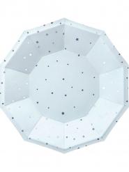 6 Petites assiettes en carton octogonales bleu ciel et étoiles argentées 18 cm