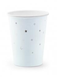 6 Gobelets en carton bleu ciel et étoiles argentées 260 ml