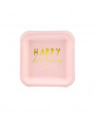 6 Petites assiettes en carton carrées happy birthday roses 14 cm
