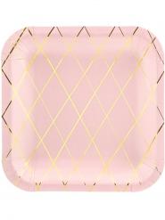 6 Assiettes en carton carrées roses et dorées 20 cm