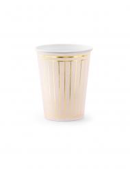 6 Gobelets en carton roses et dorés métallisés 200 ml