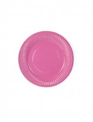 6 Petites assiettes en carton roses 18 cm