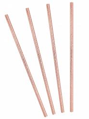 10 Pailles en carton rose gold 19,5 cm