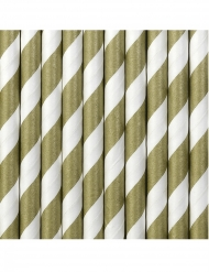 10 Pailles en carton rayées blanches et dorées 19,5 cm