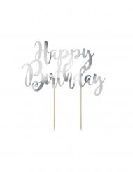 Cake topper en carton happy birthday argenté métallisé 22,5 cm