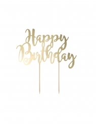 Cake topper en carton happy birthday doré métallisé 22,5 cm