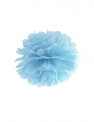 Pompon à suspendre en papier bleu 35 cm