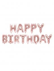 Ballons aluminium lettres Happy Birthday rose gold 340 x 35 cm