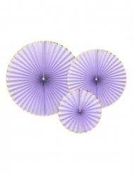 3 Rosaces en papier lavande et dorées 40, 32 et 23 cm