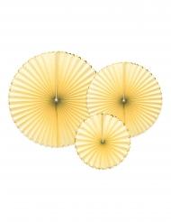 3 Rosaces en papier jaune et dorées 23, 32 et 40 cm